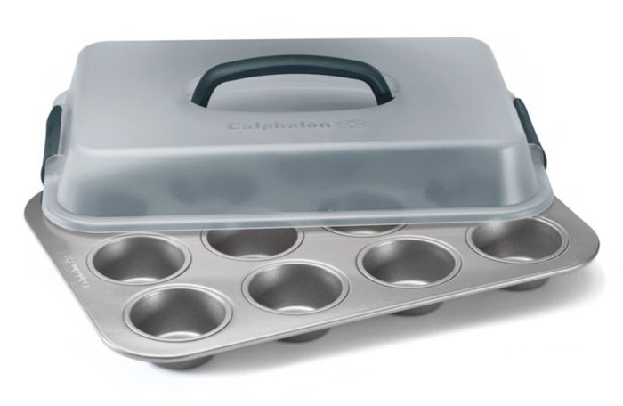 Calphalon Nonstick Cupcake Pan With Lid 12 Cup Cutlery