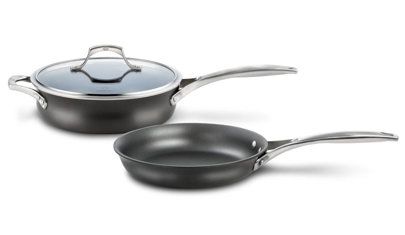 calphalon unison 3quart saute pan u0026 10inch skillet set 3piece cutlery and more