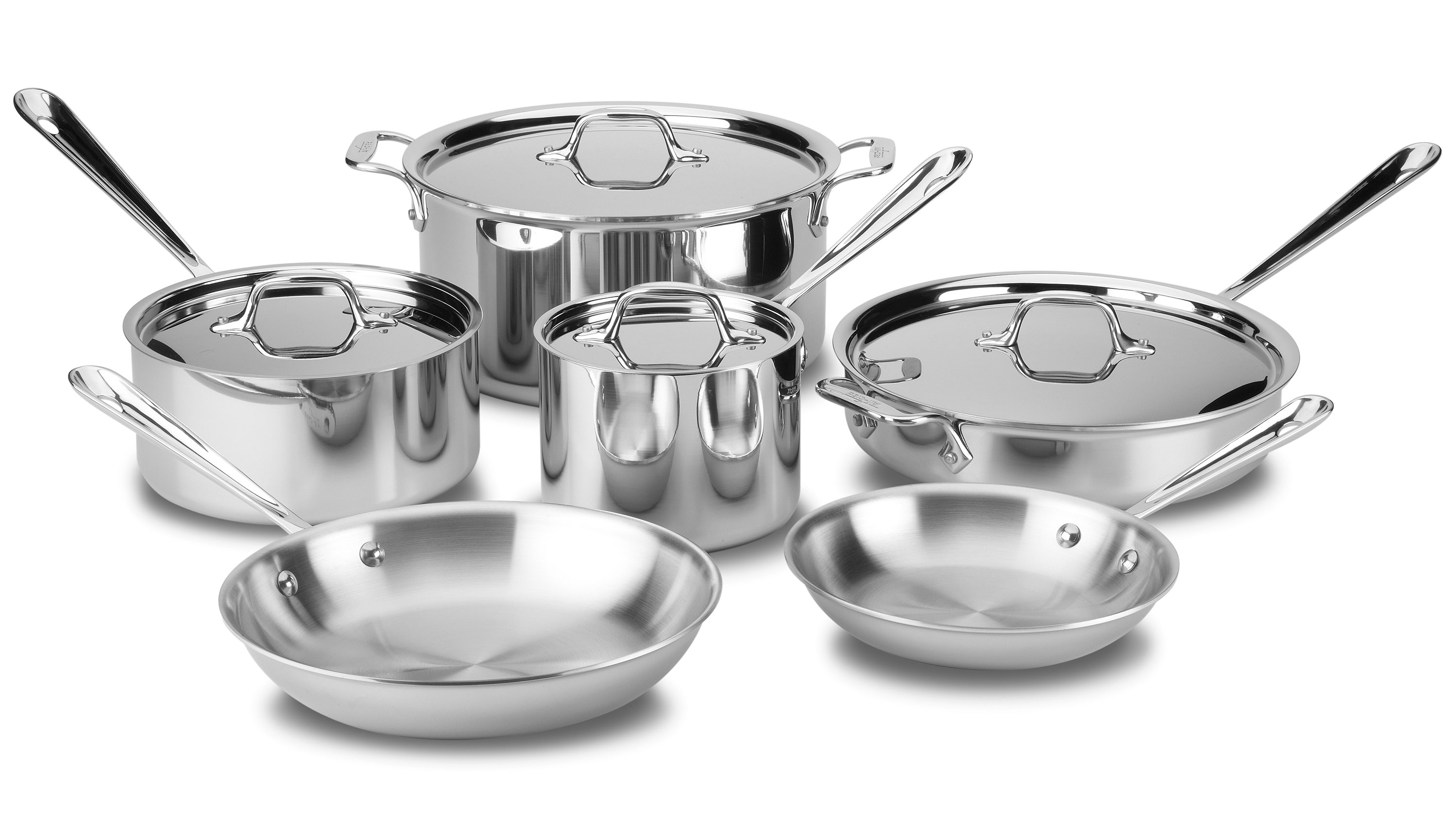 All Clad Cookware Set Tri Ply Stainless Steel 10 Piece