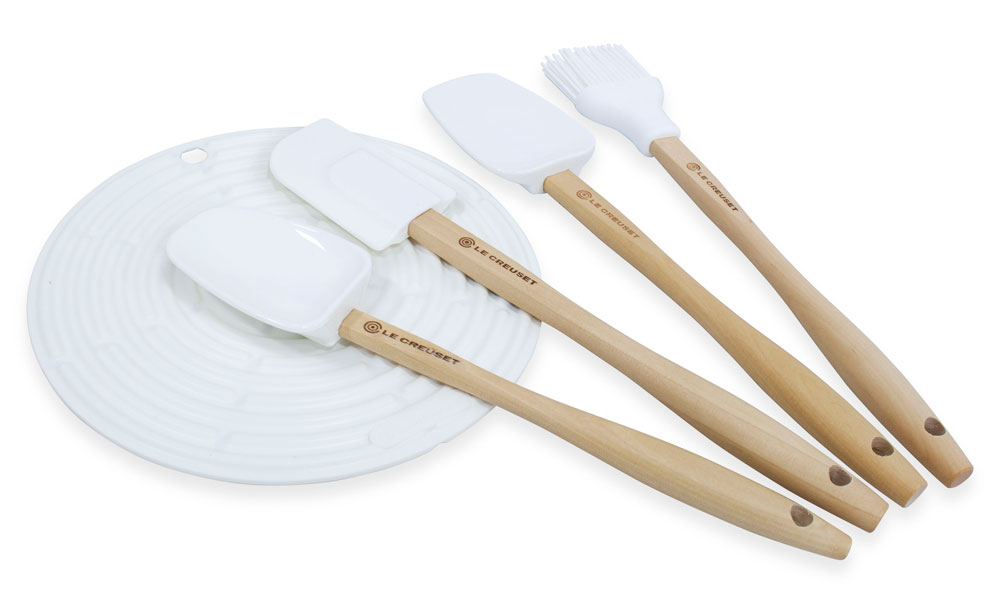 Le Creuset Silicone Utensil Set 5 Piece White Cutlery And More