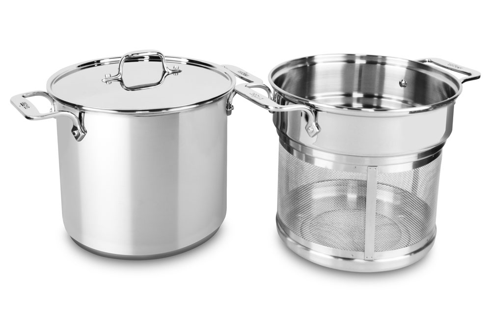 allclad stainless steel stock pot with mesh insert 8quart cutlery and more