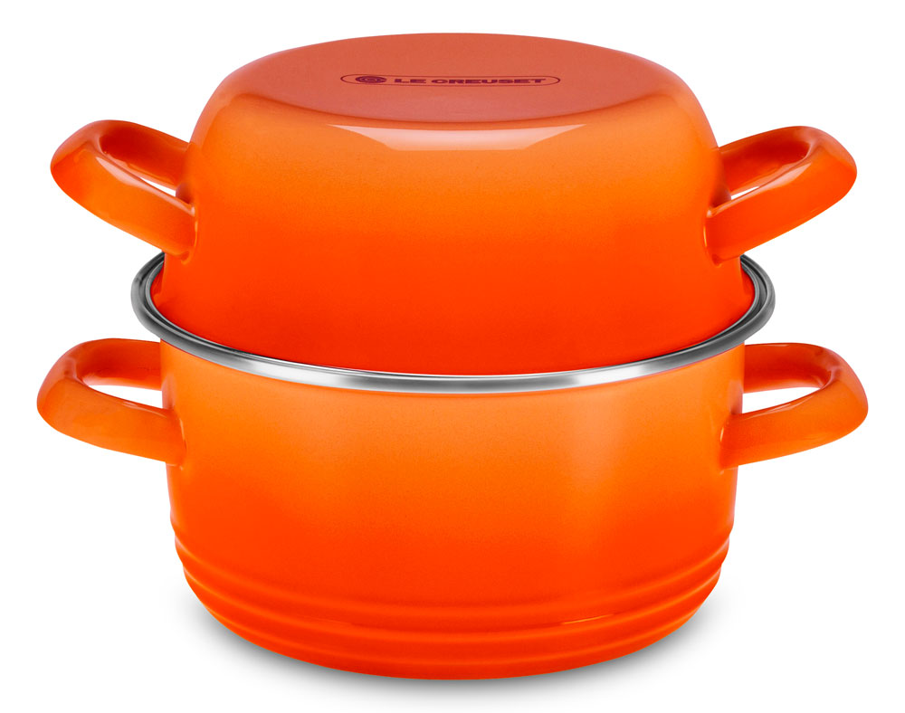 Le Creuset Enameled Steel Shellfish Pot 3 6 Quart Flame