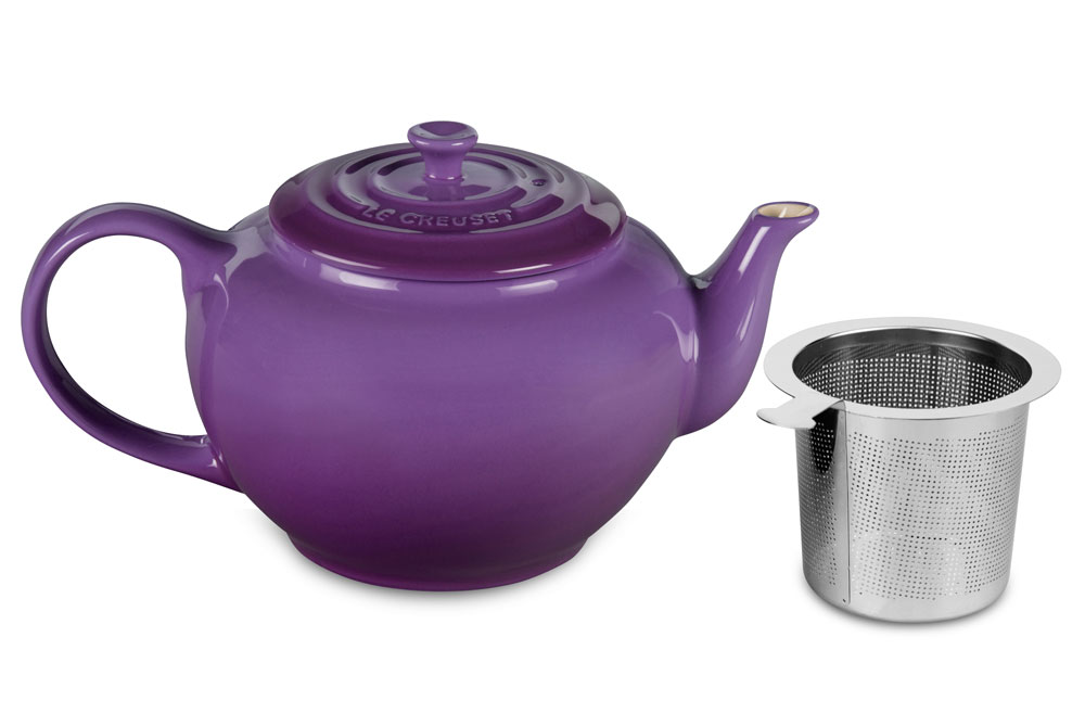 Le Creuset Stoneware Large Teapot With Stainless Steel Infuser 1 Quart Cassis Cutlery And More