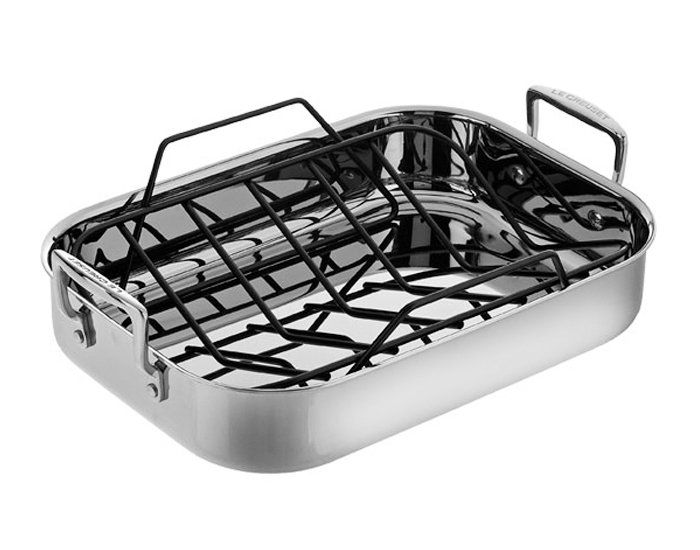 Le Creuset Stainless Steel Roasting Pan With Rack 14 5 X
