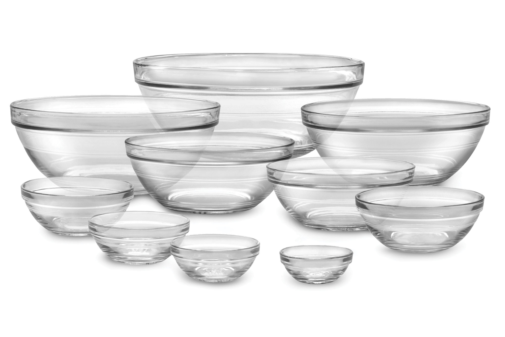 Duralex Lys Nesting Glass Bowl Set 10 Piece Cutlery And