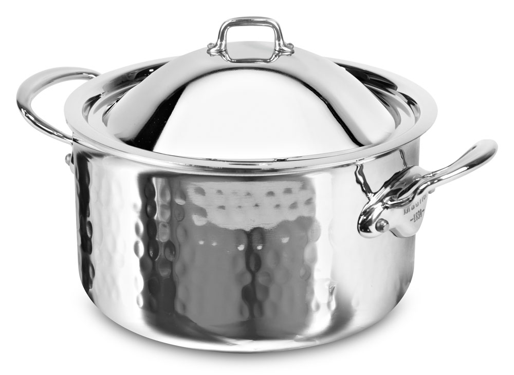 Mauviel M Elite Hammered Stainless Steel Stock Pot 6 4