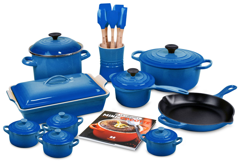 le creuset signature cast iron cookware set 20 piece. Black Bedroom Furniture Sets. Home Design Ideas