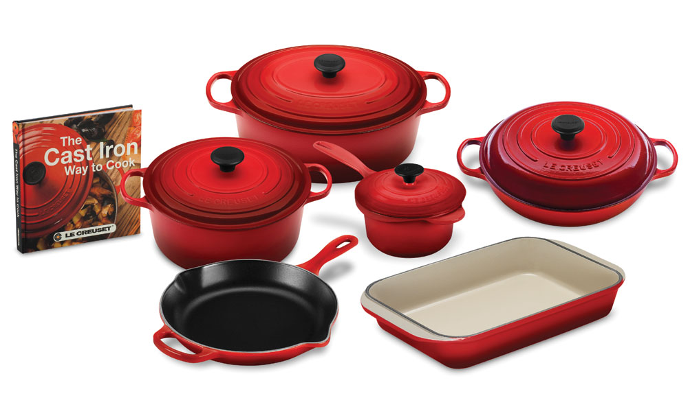 Le Creuset Signature Cast Iron Cookware Set With Bonus