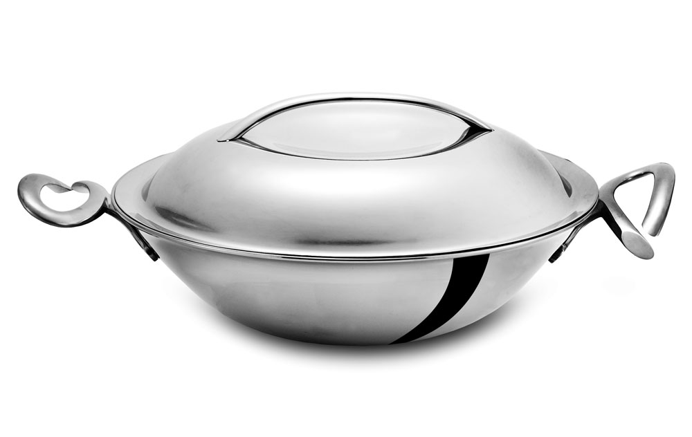 Nambe Cookserv Stainless Steel Stir Fry Pan With Lid 15