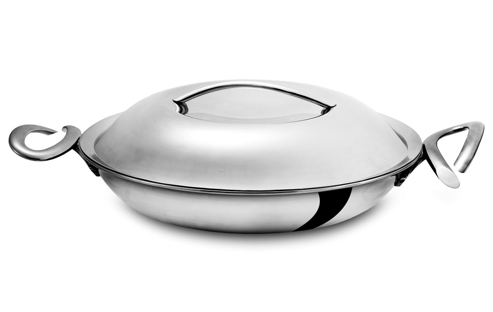 Nambe Cookserv Stainless Steel Paella Pan With Lid 14