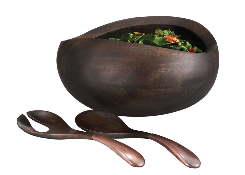 Nambe Heritage Pebble Oval Salad Bowl With Servers
