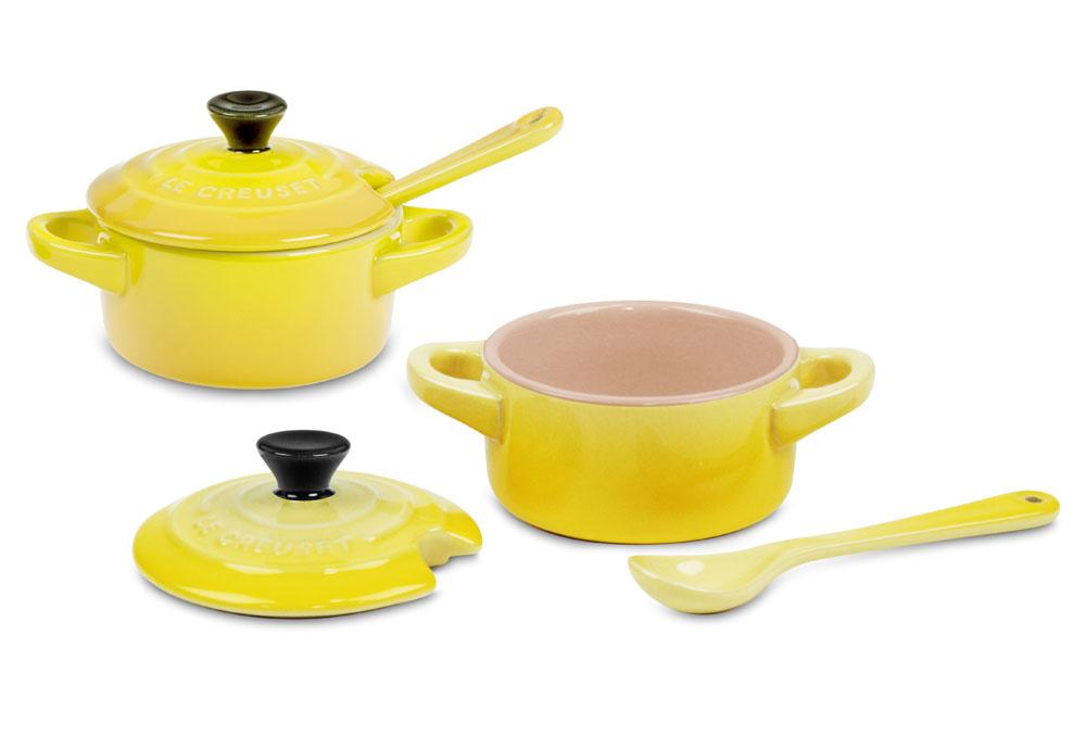 Le Creuset Stoneware 2 Piece Soleil Mini Cocotte Condiment Set