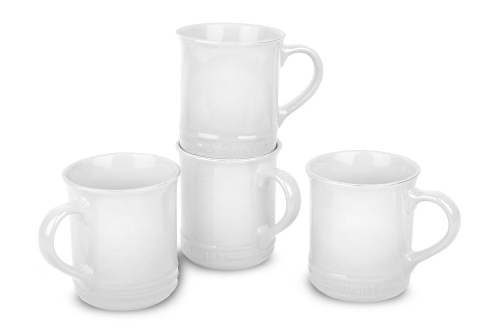 Le Creuset Stoneware 4 Piece Pearlized White Mug Set