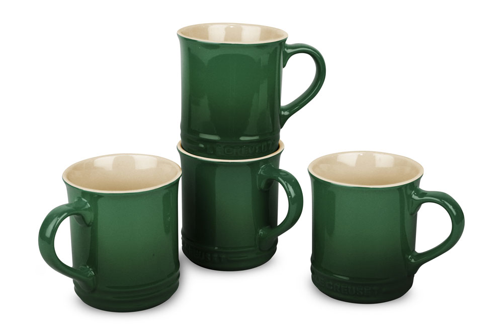 Le Creuset Stoneware 4 Piece Pearlized Green Mug Set