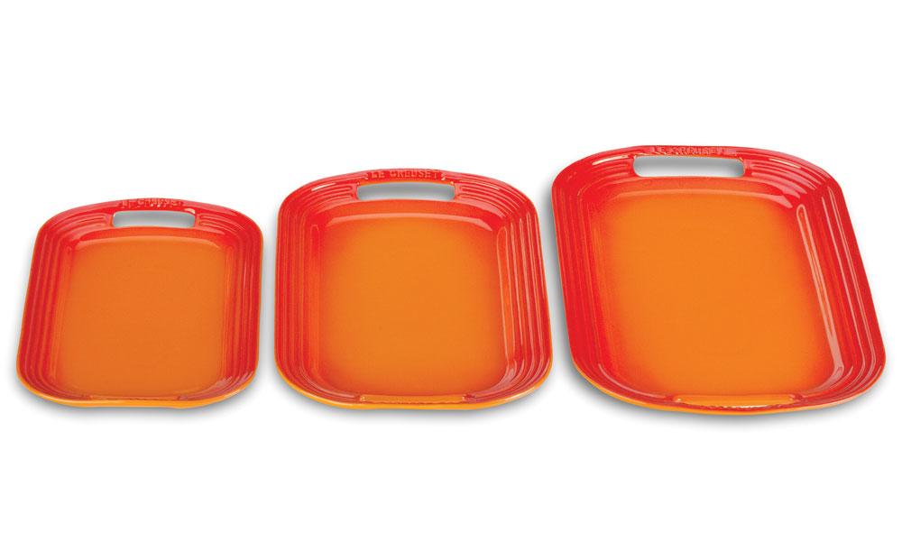 Le Creuset Stoneware Serving Platter Set 3 Piece Flame