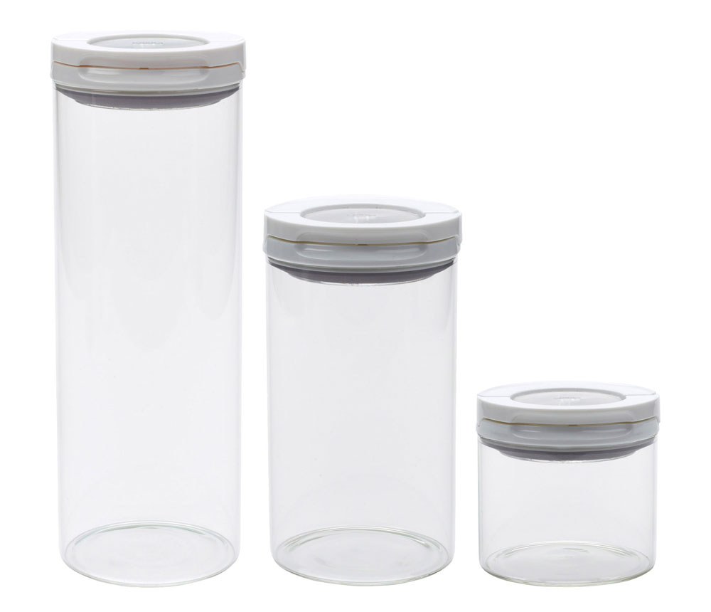 Oxo Steel Fliplock Glass Canister Set 3 Piece White