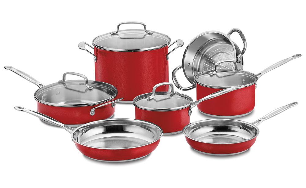 Cuisinart Chef S Classic Metallic Red Cookware Set 11