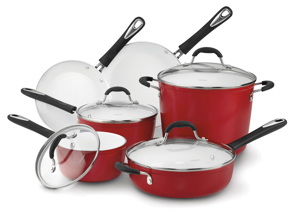 Cuisinart Elements Red Ceramic Nonstick Cookware Set 10