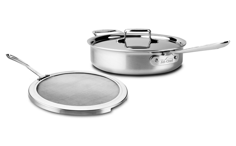 All Clad D5 Brushed Stainless Deep Saute Pan With Splatter