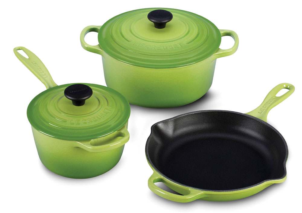 Le Creuset Signature Cast Iron Cookware Set 5 Piece Palm