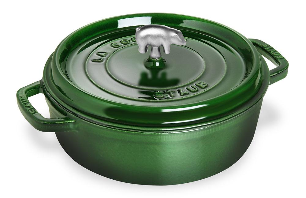 Staub Cochon Shallow Round Dutch Oven 6 Quart Emerald