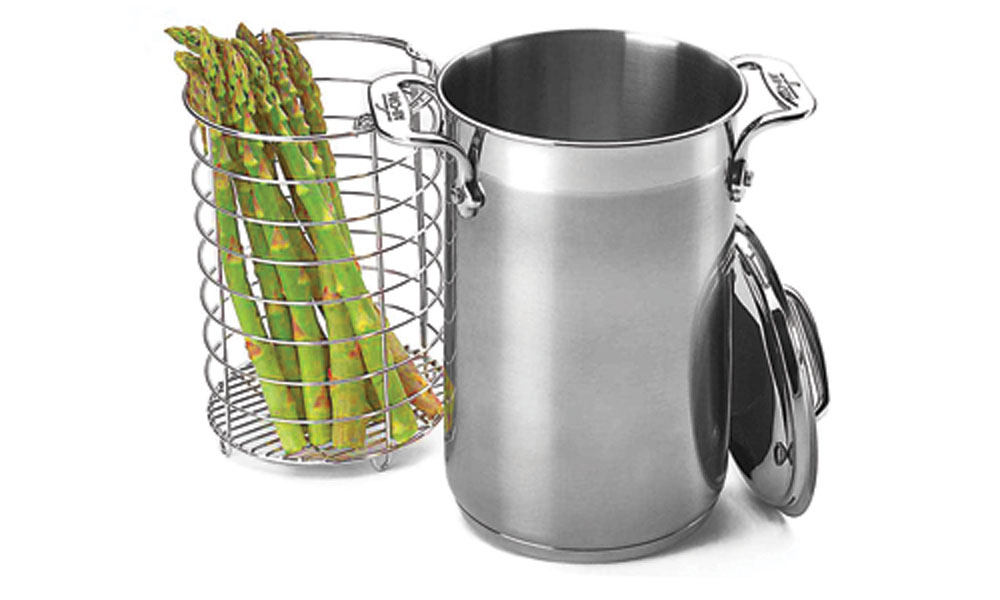 All Clad Stainless Steel Asparagus Pot With Steamer Basket