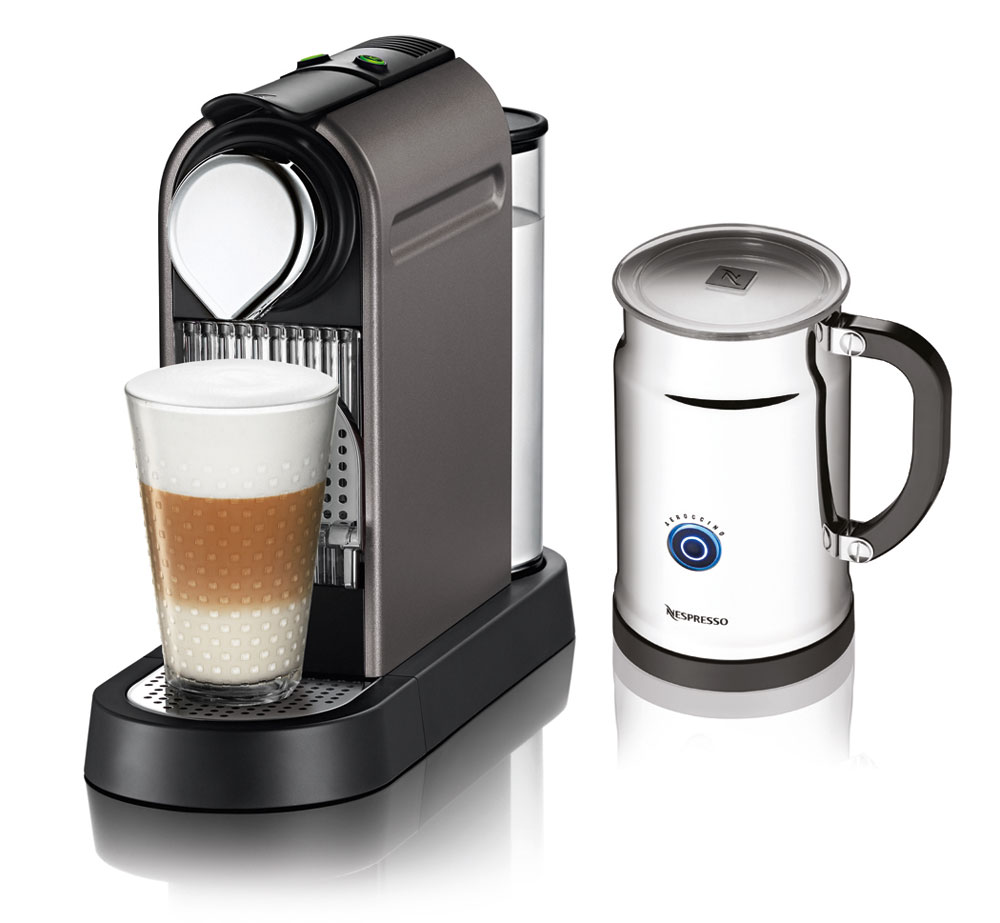 Nespresso Citiz Espresso Maker with Aeroccino Plus Milk Frother, Titan (Titanium) Cutlery and More