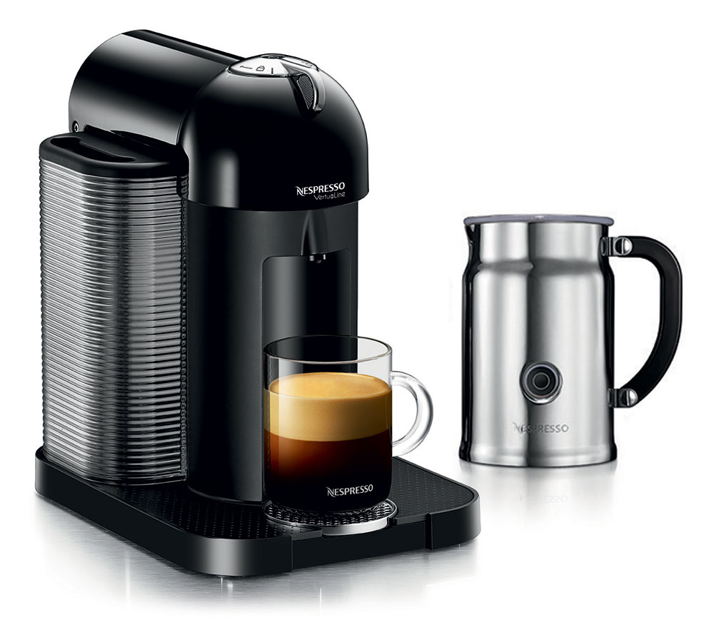Nespresso VertuoLine Coffee & Espresso Maker with Aeroccino Plus Milk Frother, Black Cutlery ...