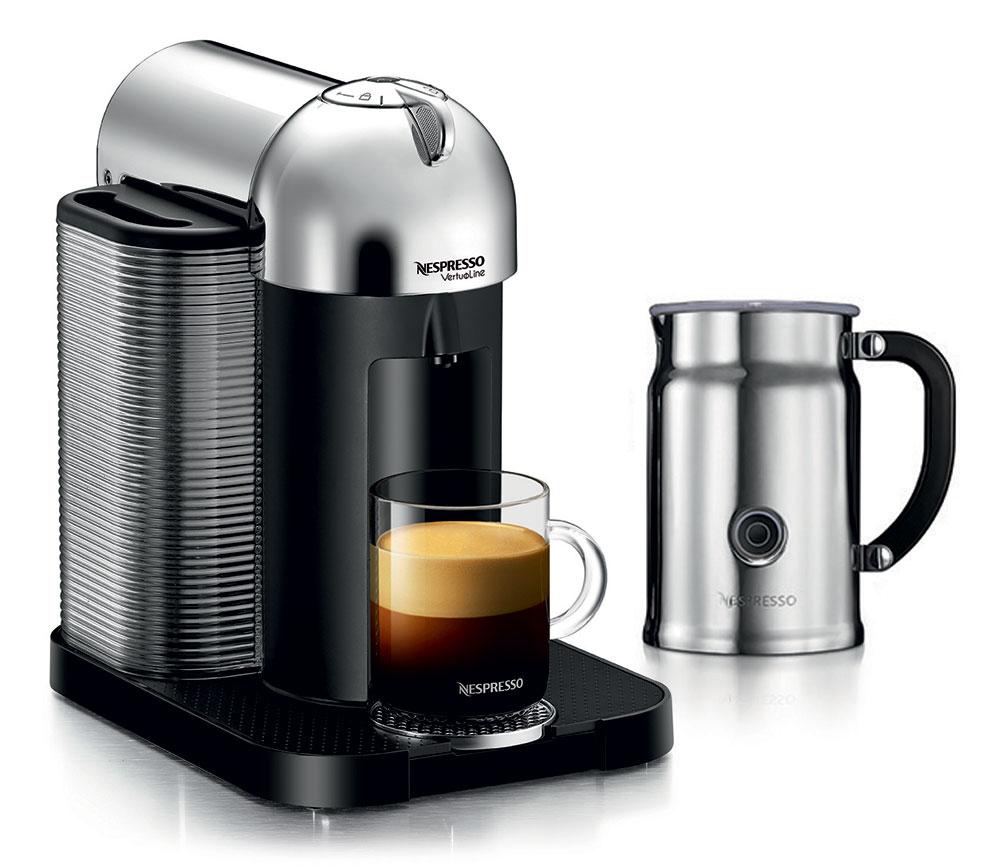 nespresso vertuoline coffee espresso maker with aeroccino plus milk frother chrome cutlery. Black Bedroom Furniture Sets. Home Design Ideas
