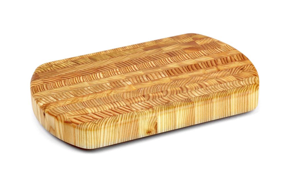 Larch Wood Curved End Grain Cutting Board 15 X 9 5 X 1 5