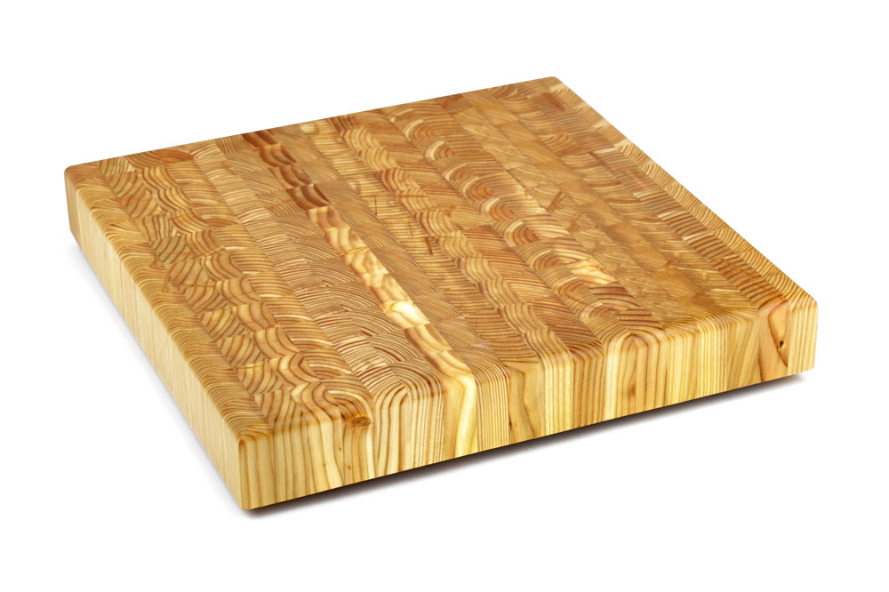 Larch Wood Square End Grain Cutting Board 14 X 2 Inch