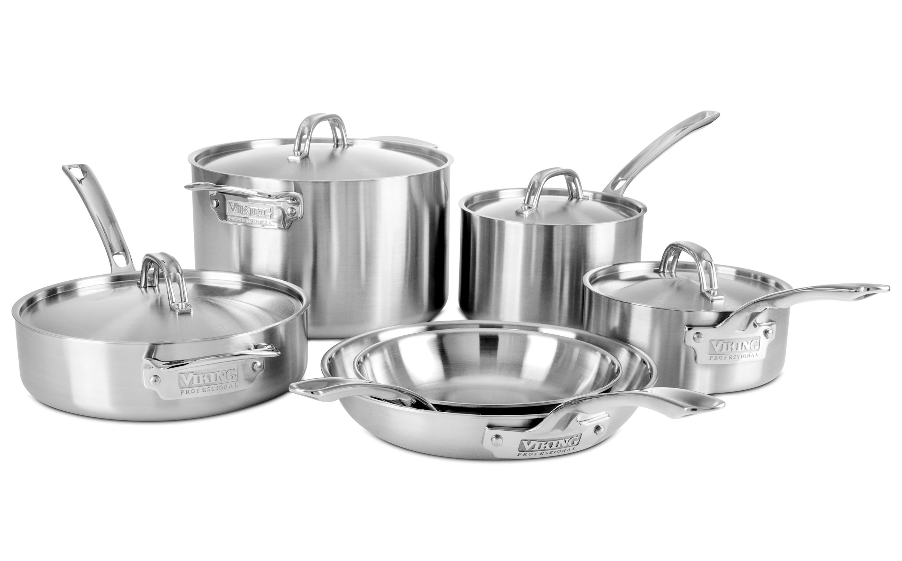 Viking Professional 5-ply Stainless Steel Cookware Set, 10-piece ...