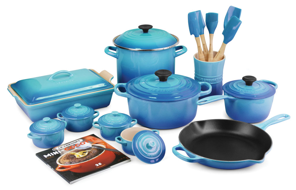 le creuset signature cast iron cookware set 24 piece caribbean cutlery and more. Black Bedroom Furniture Sets. Home Design Ideas