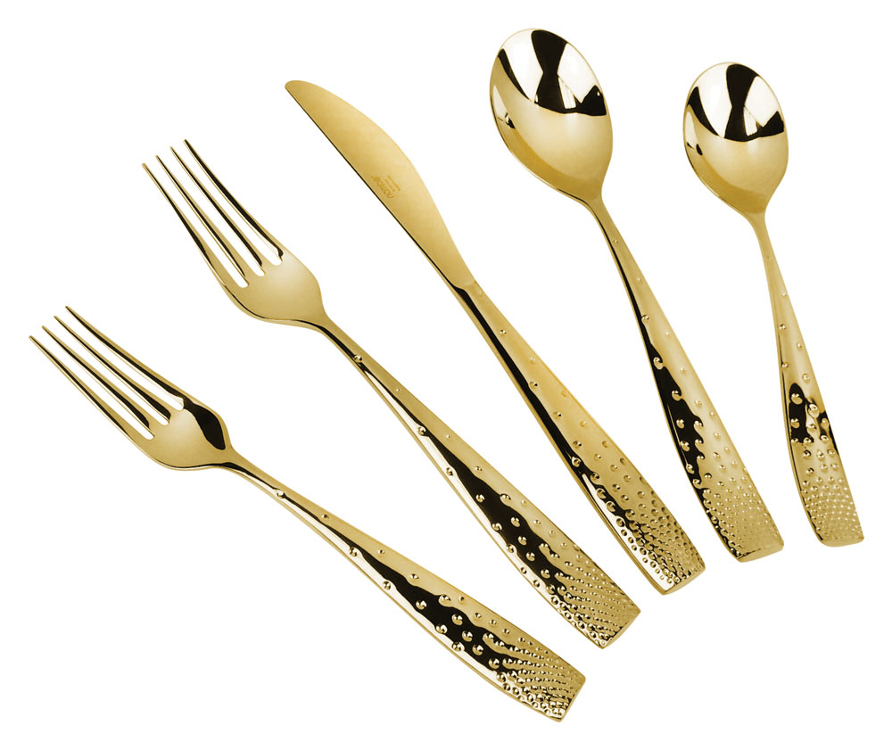 nambe dazzle gold plated stainless steel flatware set pc place  - pc