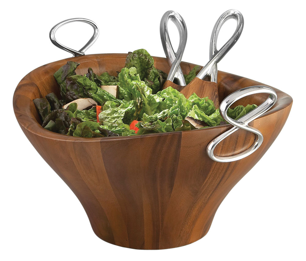 Nambe Infinity Wooden Salad Bowl With Servers Cutlery