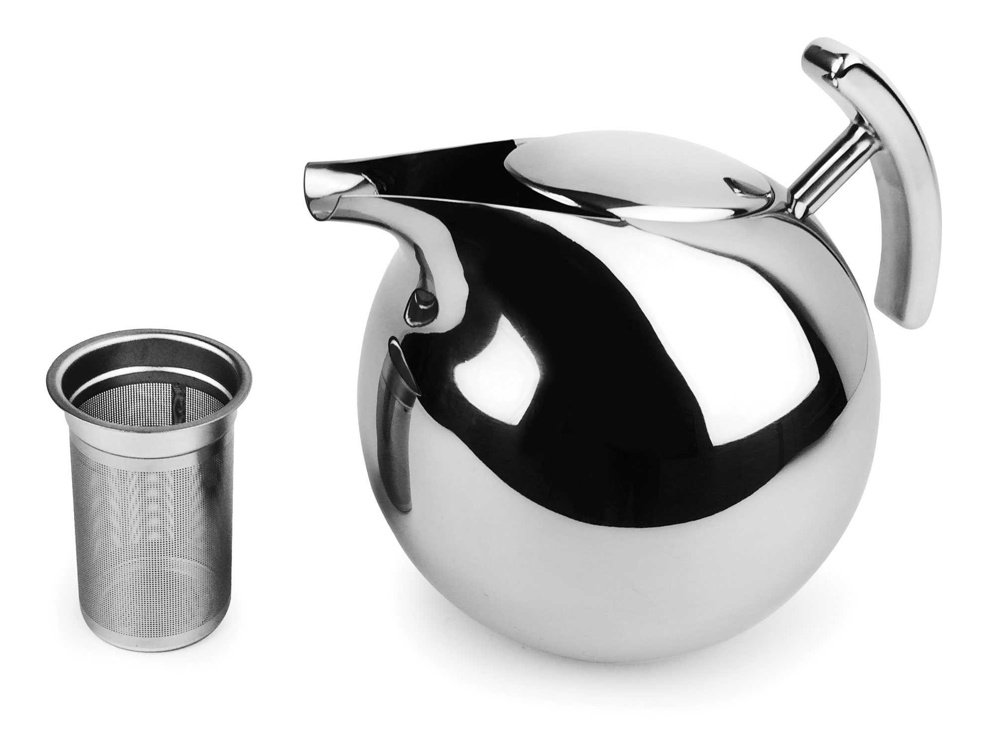 Nambe Kurl Stainless Steel Tea Pot With Infuser 64oz