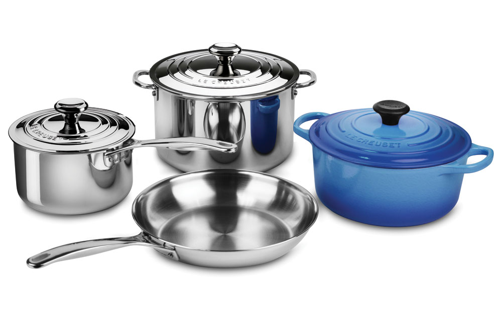 Le Creuset Stainless Steel Amp Cast Iron Cookware Set 7