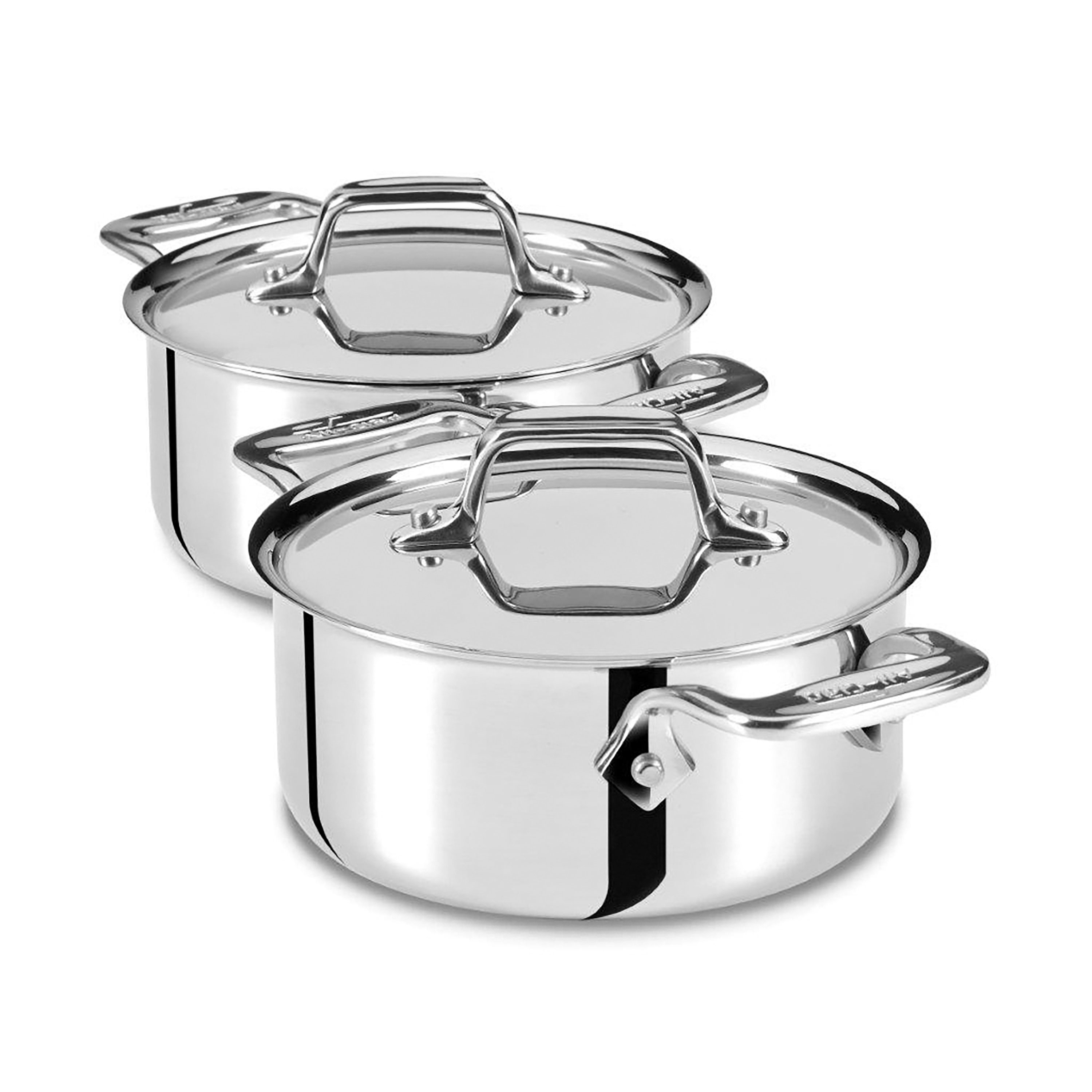 All Clad D3 Stainless Mini Stainless Steel Cocotte Set 2
