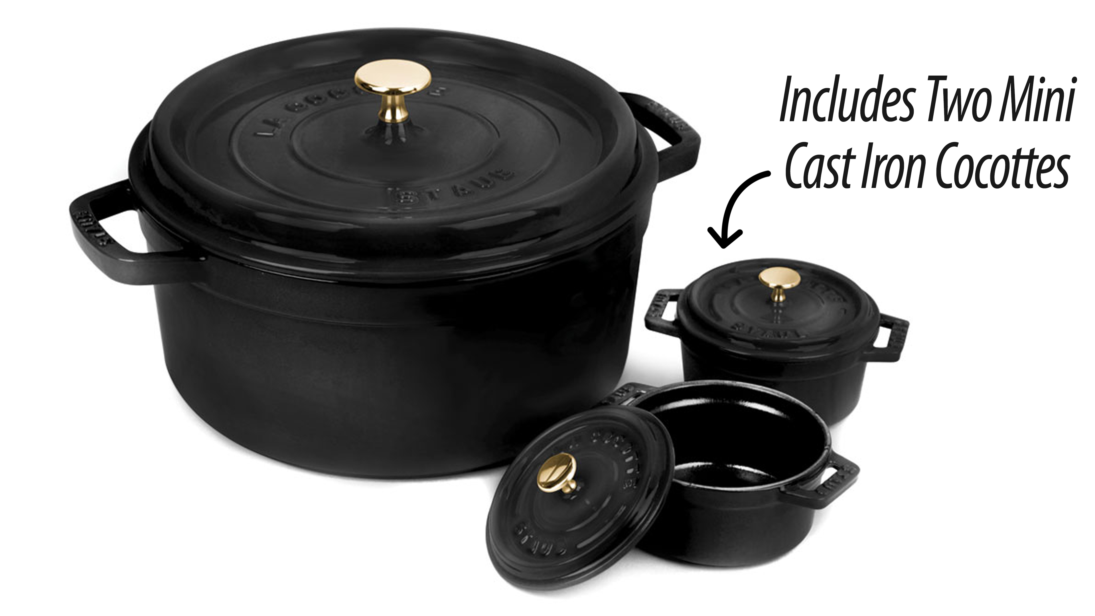 Staub Round Dutch Oven With Two Mini Cast Iron Cocottes 5