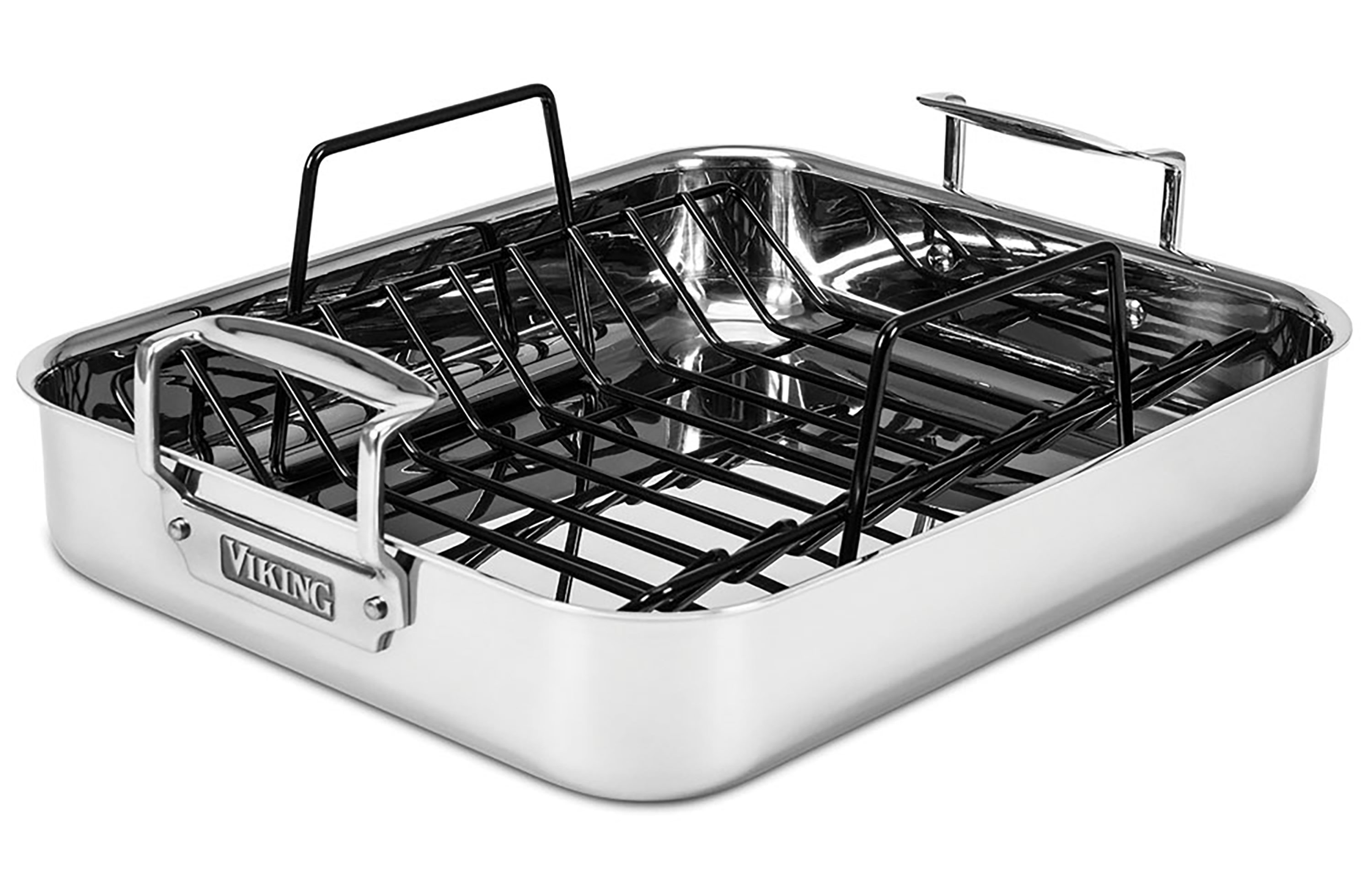 Viking Tri Ply Stainless Steel Roasting Pan With Rack