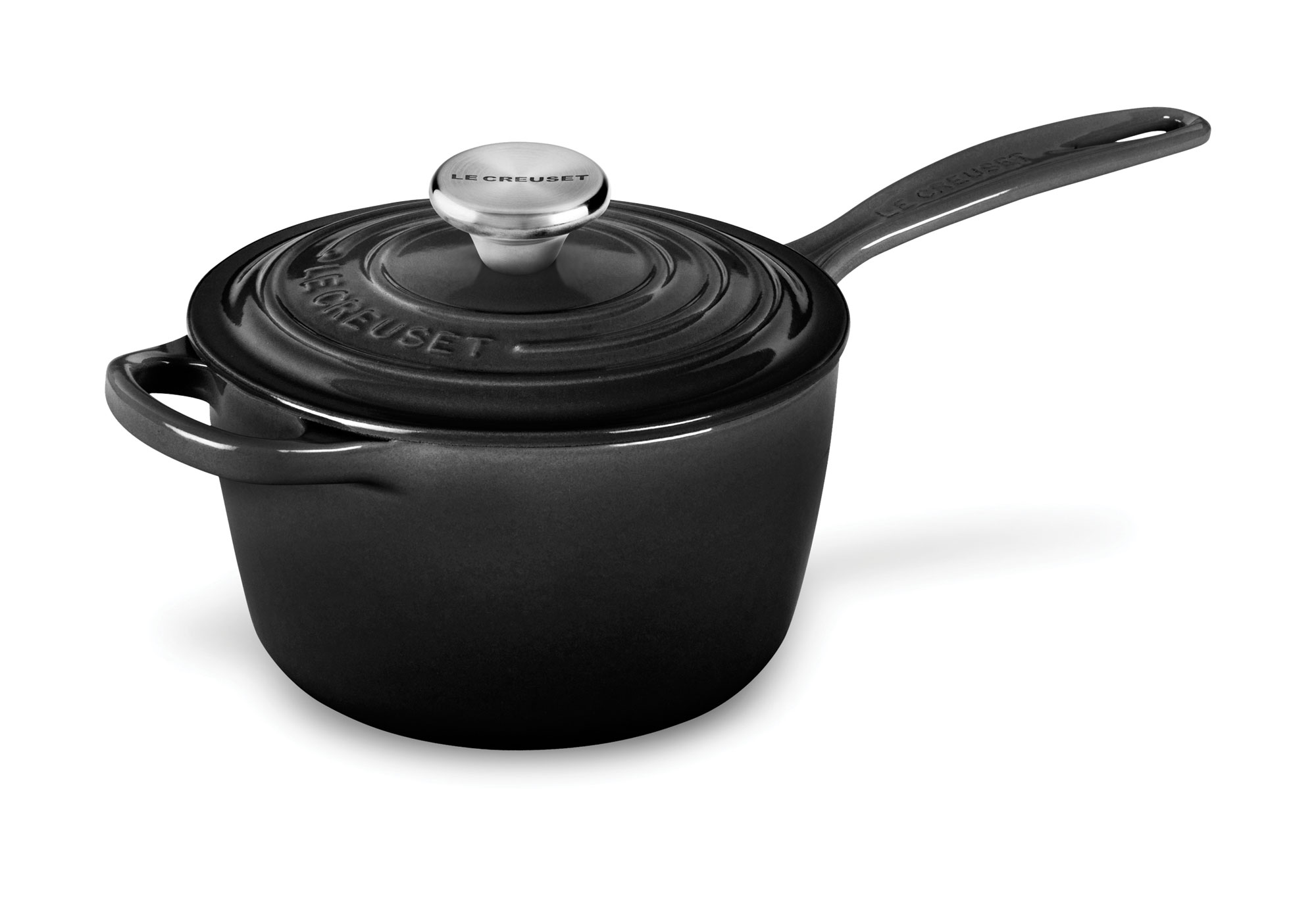 Le Creuset Signature Cast Iron Saucepan 1 75 Quart Black