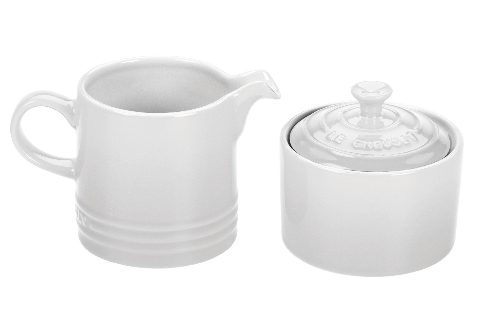 le creuset stoneware cream  sugar set white  cutlery and more - cherry red