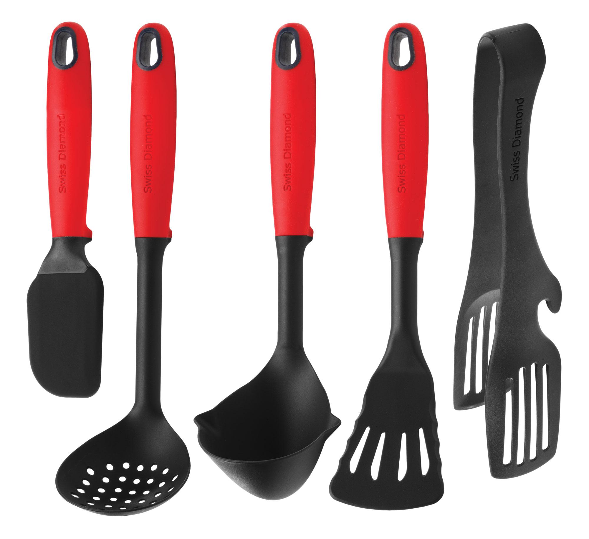 Swiss diamond kitchen utensil set 5 piece cutlery and more for Kitchen set utensils