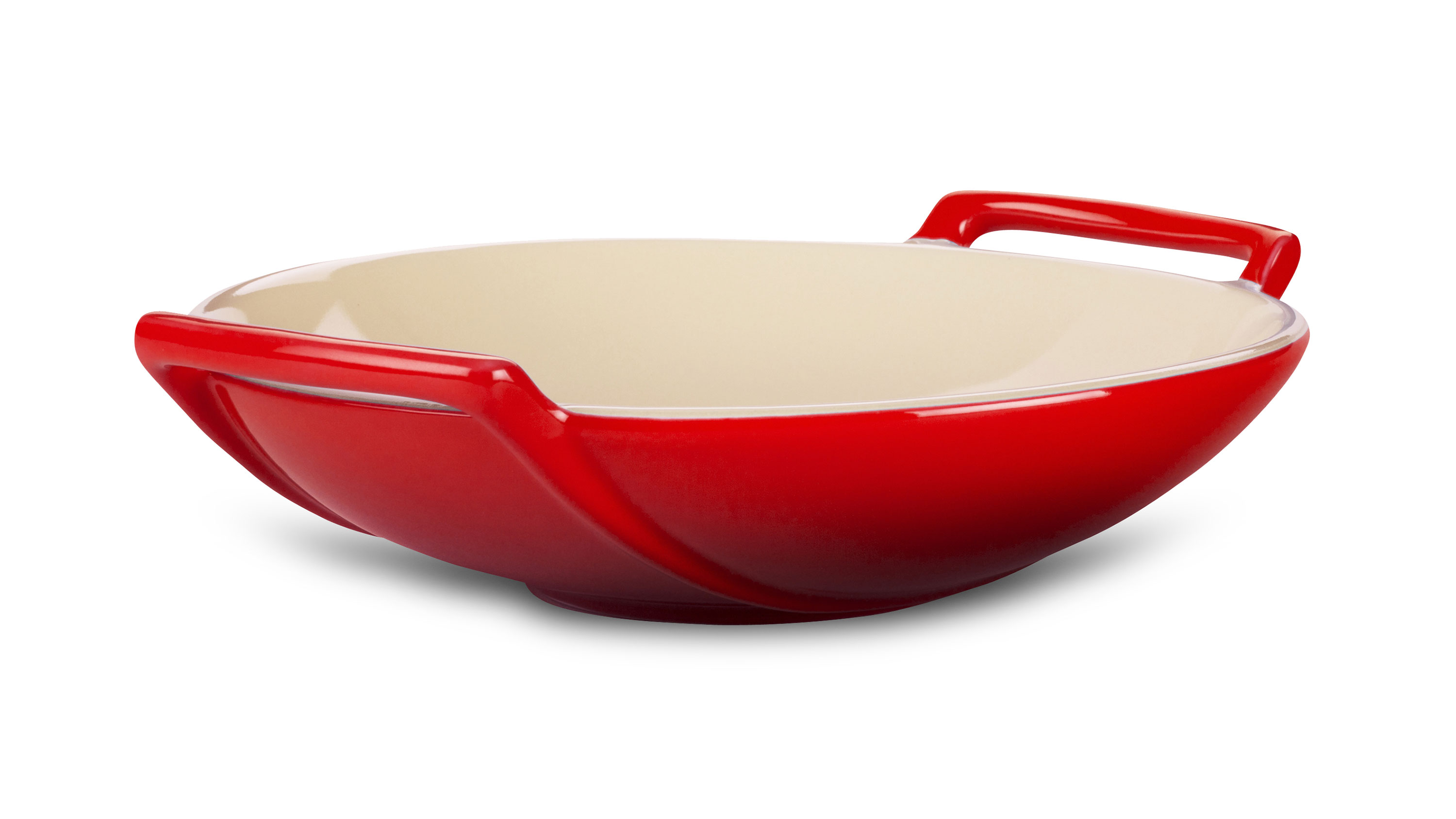le creuset stoneware wok dish 28 ounce cherry red cutlery and more. Black Bedroom Furniture Sets. Home Design Ideas