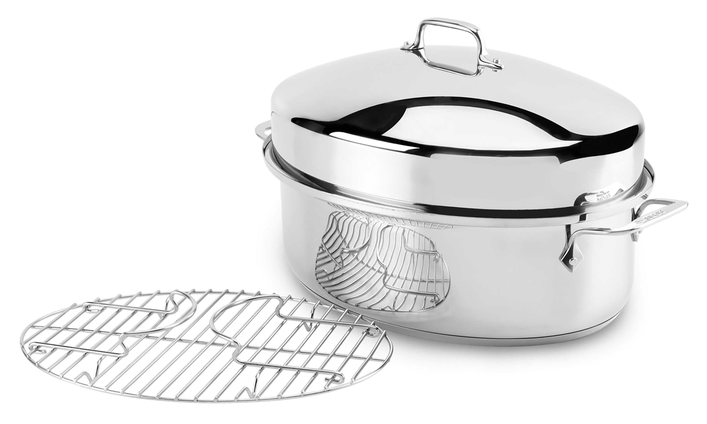 All Clad Stainless Steel Covered Oval Roaster 15 X 11