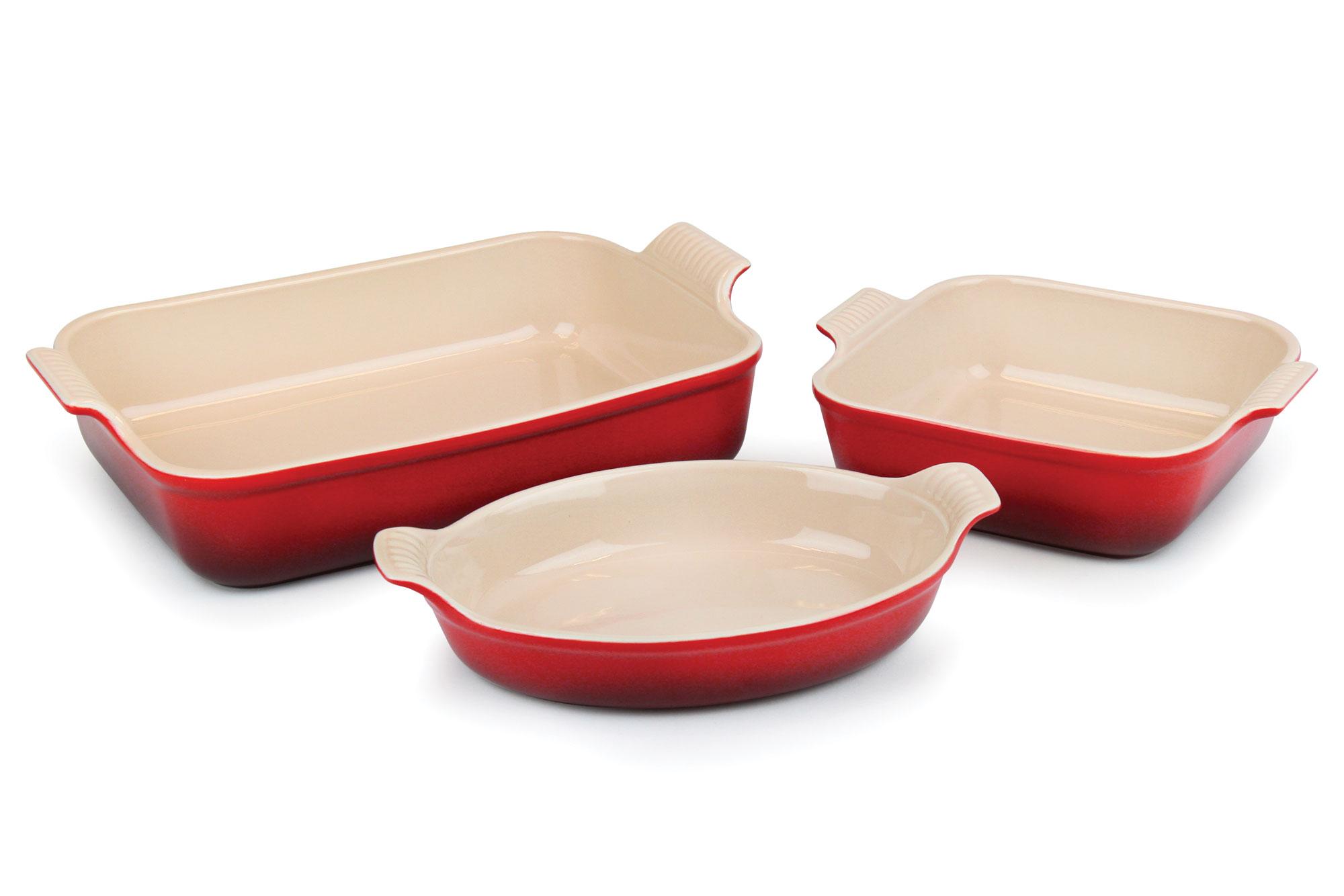 Le Creuset Stoneware Heritage Bakeware Set, 3-piece Cherry ...