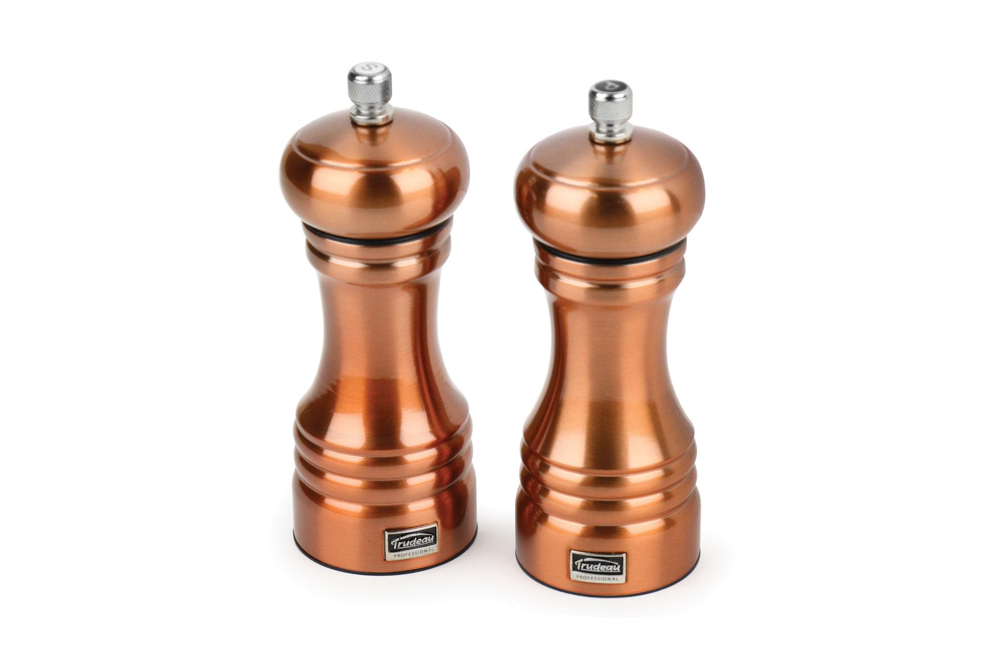 - trudeau professional copper salt pepper mill set inch