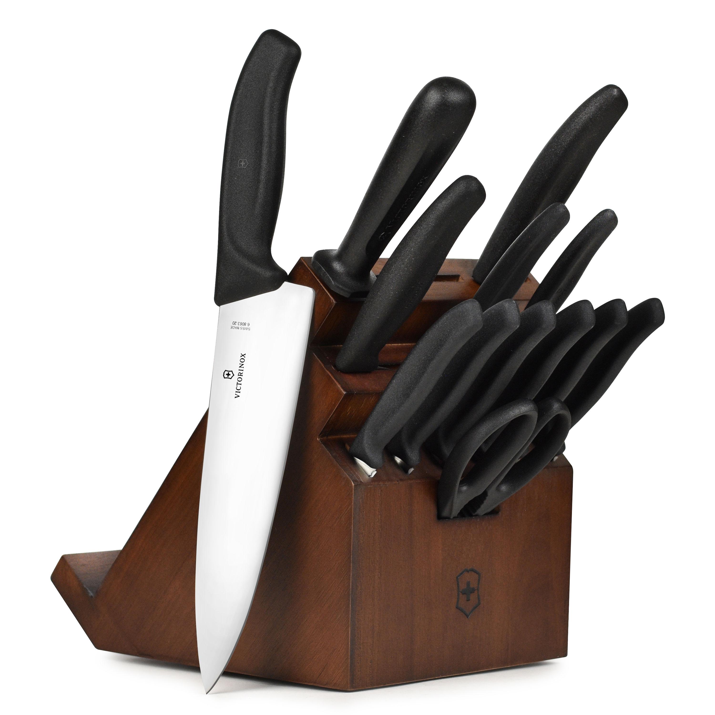 victorinox swiss classic swivel knife block set 14 piece walnut walnut