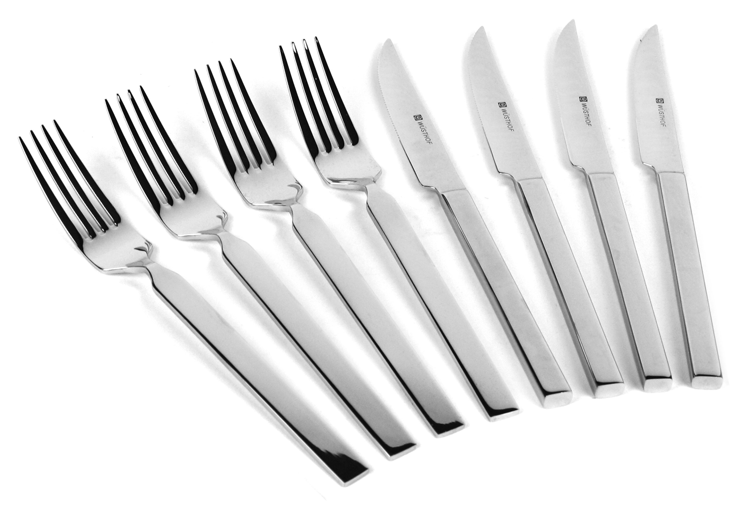 Wusthof stainless steel steak knife fork set 8 piece cutlery and more - Knives and forks sets ...