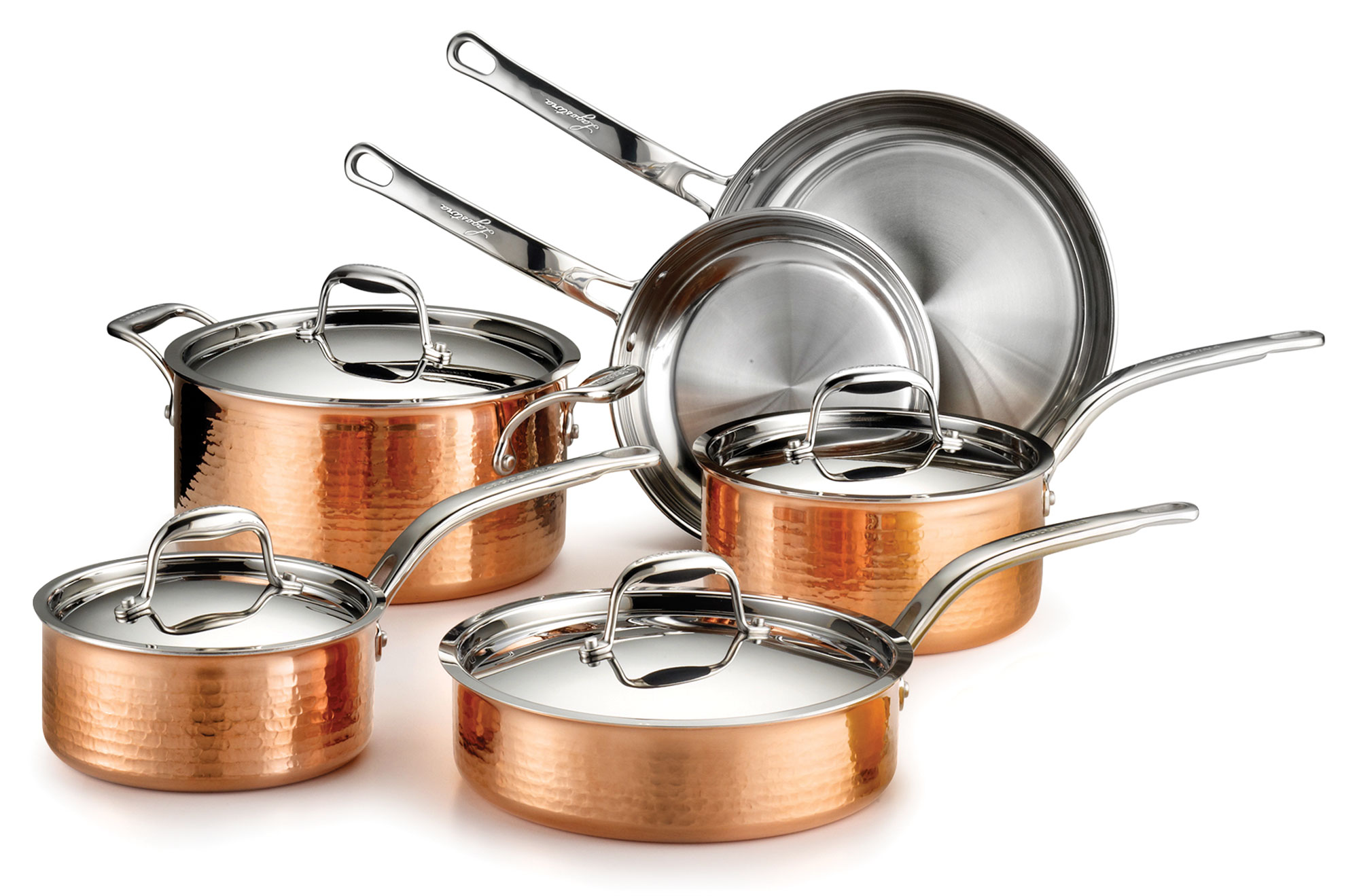 Lagostina Copper Cookware Set Martellata Hammered Tri Ply